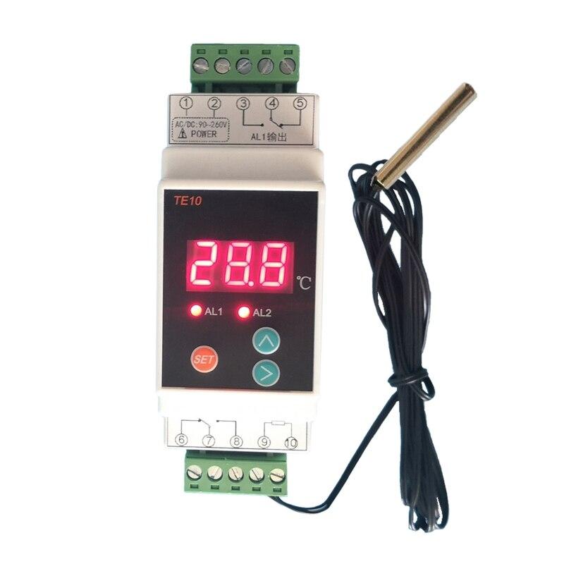 AC90 ~ 260V -40 ~ 110 ℃ Din Rail термостат с Сенсор 2 способ реле Выход Температура сигнал тревоги контроллер без NC общий Выход 7A/250VAC