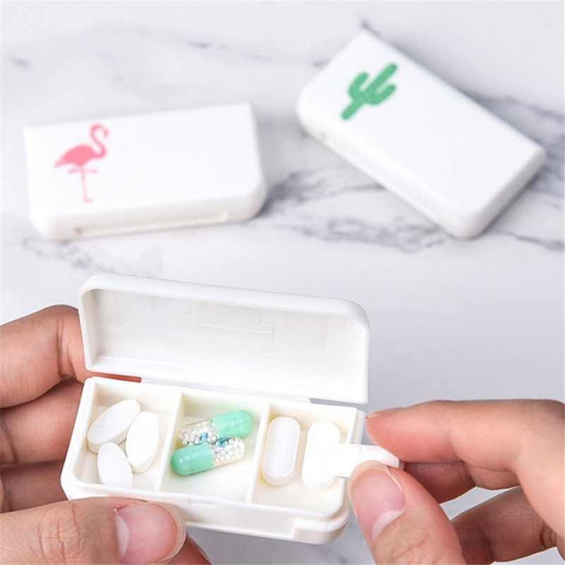Nuevo 3 Lattices Pill box Tablet flamenco Cactus hoja pastillero dispensador cajas de medicina dispensar Kit médico Mini organizador caso