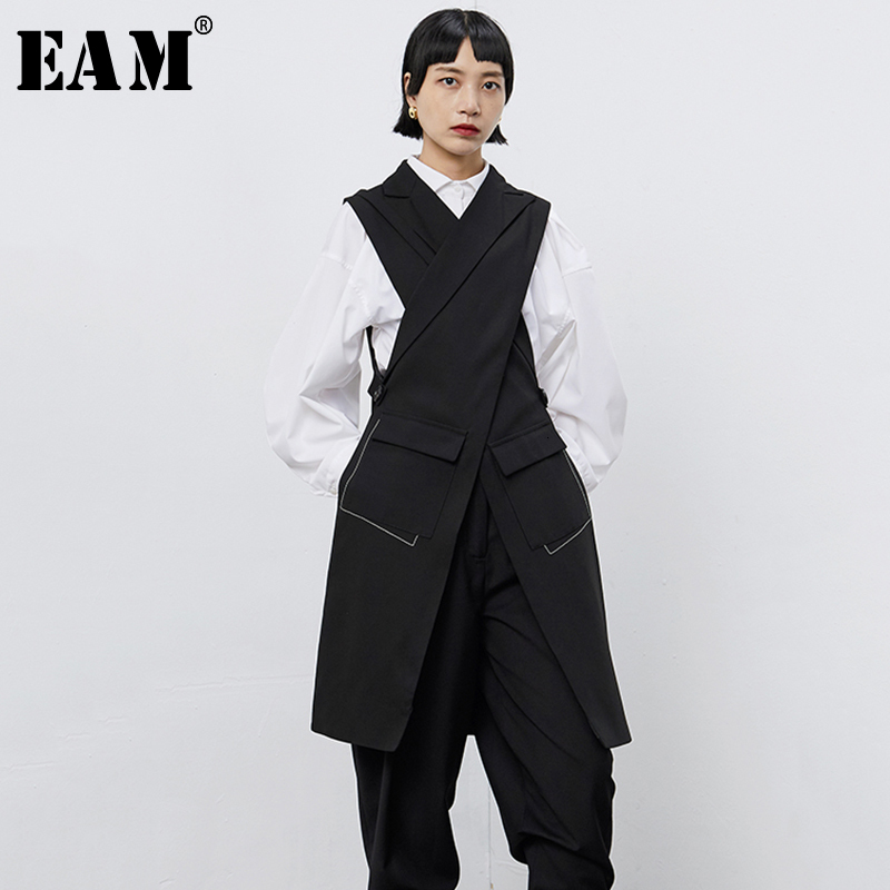 [EAM] Women Black Cross Split Joint Long Asymmetrical Loose Fit Vest New V-collar Sleeveless Fashion Spring Autumn 2020 1B677