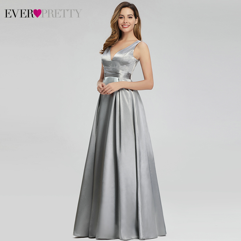 Image 4 - Grey Satin Evening Dresses Long Ever Pretty A Line Double V Neck Formal Dresses Women Elegant Party Gowns Robe De Soiree 2019-in Evening Dresses from Weddings & Events