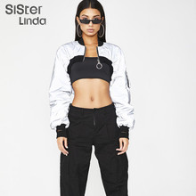 Sisterlinda Women Cropped Reflective Sweater Fashion Long Sleeve Loose Jacket Sl