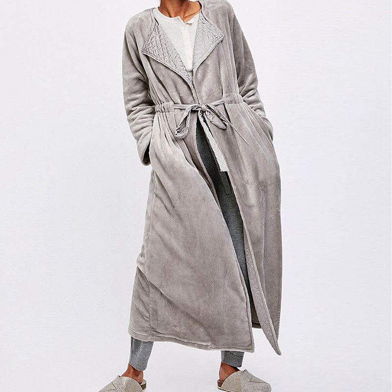 Women's Sleepwear Grey Flannel Long Robes Warm Pajamas.Winter Night Bathrobes Sleep Nightgown Robe Dressing Gown Soft Loungewear
