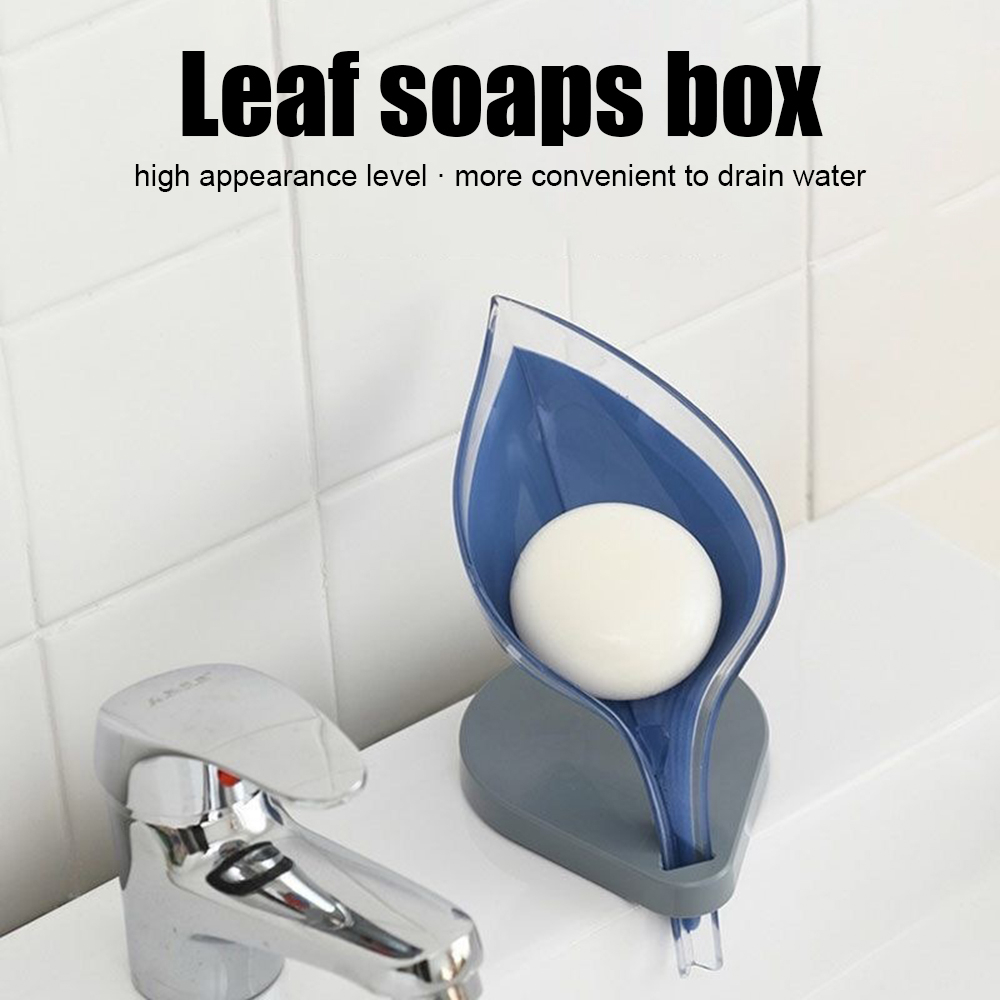Portable Leaf Shape Soap Dish Box Bathroom Soap Holder Drain Home Organizer