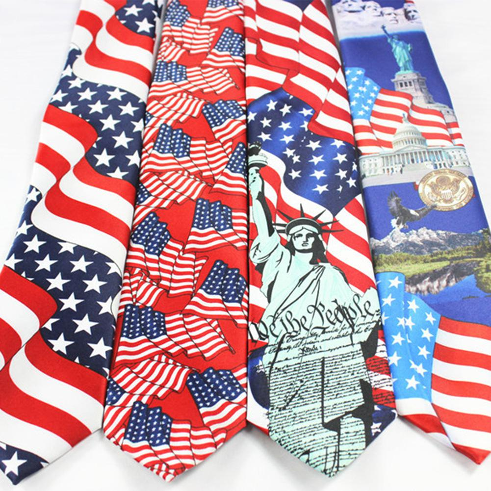 Fashion Clothing Accessories Polyester Code Multicolor Men's Creative American Flag Printing Tie Elegant Wild Tie Hot Sale