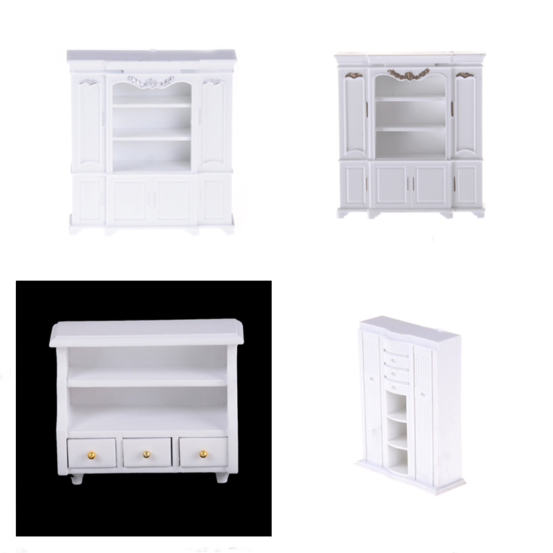 New Mini Cabinet Model Chest Cupboard Shelf White Cabinet Kitchen Dining Display Display Doll House Kitchen Dollhouse Accessory