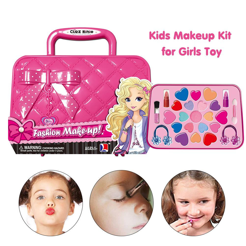 Kids Makeup Kit Bag Toy Pretend Play Kid Make Up Set Safety Non-toxic Toys For Girls Dressing Cosmetic Travel Bags Beauty Toy