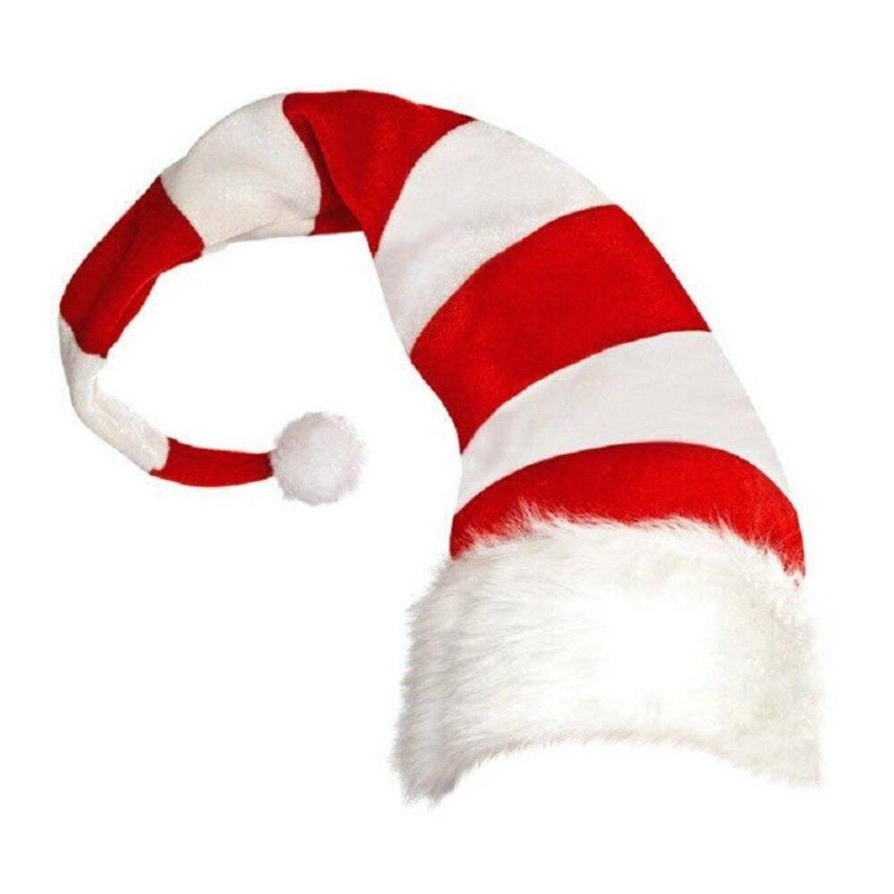 Christmas Cap Plush Xmas Red Cap Santa Stripe Hat for Christmas Party (2)