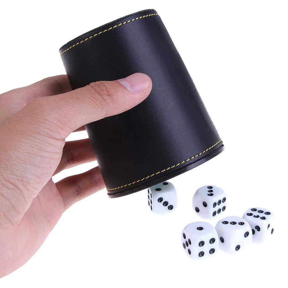 Copo de dados de flanela de couro do falso com 5 barra de dados ktv entretenimento copo de dados com cubos clube festa família acessórios de jogo