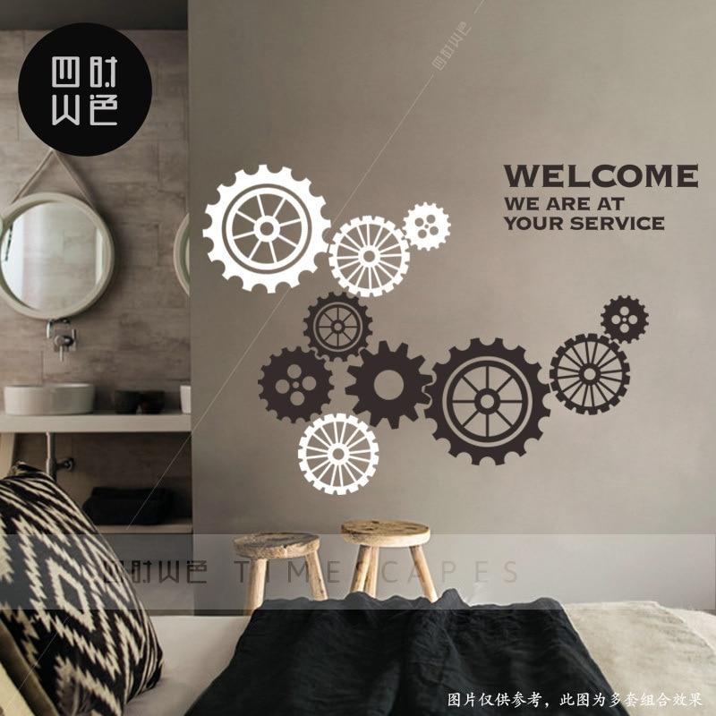 Cool Machinery Gear Adhesive Paper Shop Showcase Decoration Glass Door Adhesive Paper Clock Bar Milk Tea Restaurant Wall Adhesiv