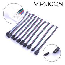 1/5/10 pces 4pin 10mm rgb led tira conector de solda livre para 5050 smd rgb led tira conector acessórios