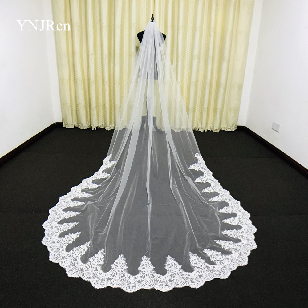 Real Photos White/Ivory Mantilla Cathedral Bridal Veil Length Lace Edge Long With Metal comb Wedding Accessories