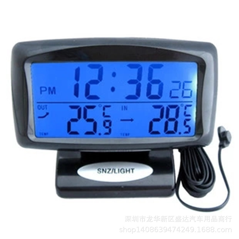 Car Thermometer Car Inside And Outside Two-Temperature Electron Clock Car Electronic Clock Car Mounted Thermometer Night Light