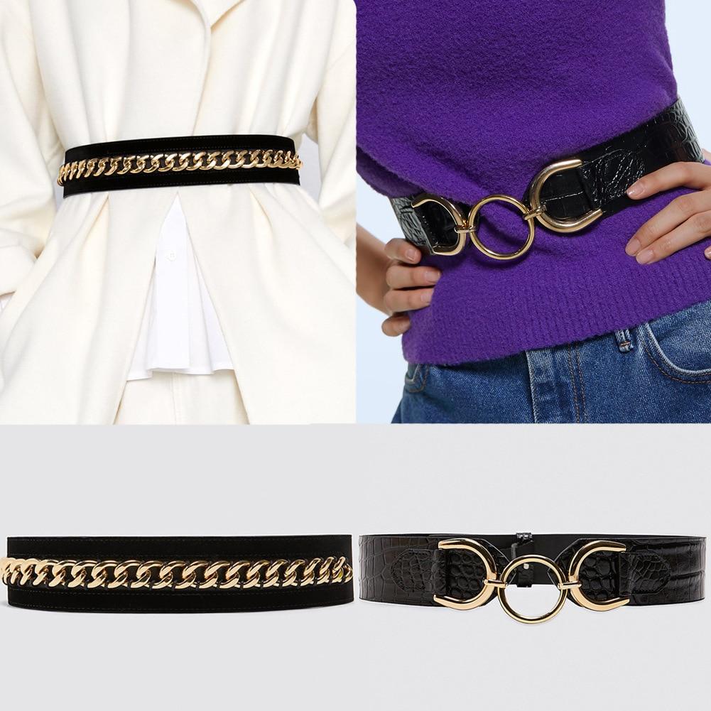 Fashion Suede Leather Women Belt Female Metal Chain Waist Leather Belt