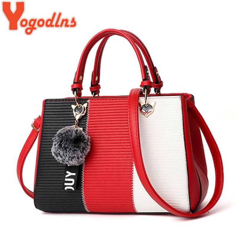 Yogodlns Trendy Patchwork Colors Messenger Crossbody Bags Ladies Daily Handbag Fashion Quality Shoulder Sling Bag + Hair Ball