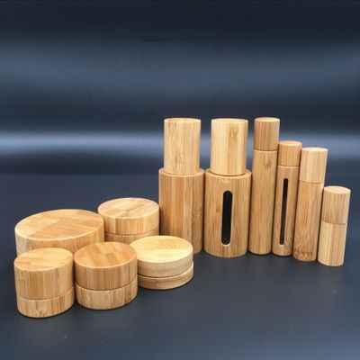 30g frasco de creme de bambu interno do cuidado do corpo dos pp do frasco de creme, caixa de creme do olho, garrafa pequena de bambu da embalagem