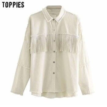 Toppies 2020 Fashion Breasted Tassel Jacket White Jean Jacket Coat Womens Rivet Denim Coat Soutwear
