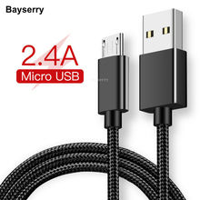цена на Bayserry Micro USB Cable 2.4A Fast Charging USB Data Cable for Samsung S7 Huawei Xiaomi HTC Phone Android Tablet Charger Cable