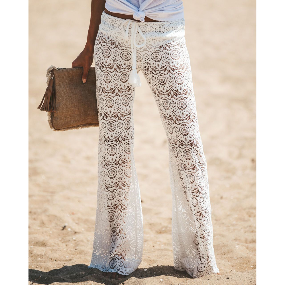 New Beach Flare Pants Bikini Cover Up Lace Crochet Long Pants Swimwear Flower Trousers