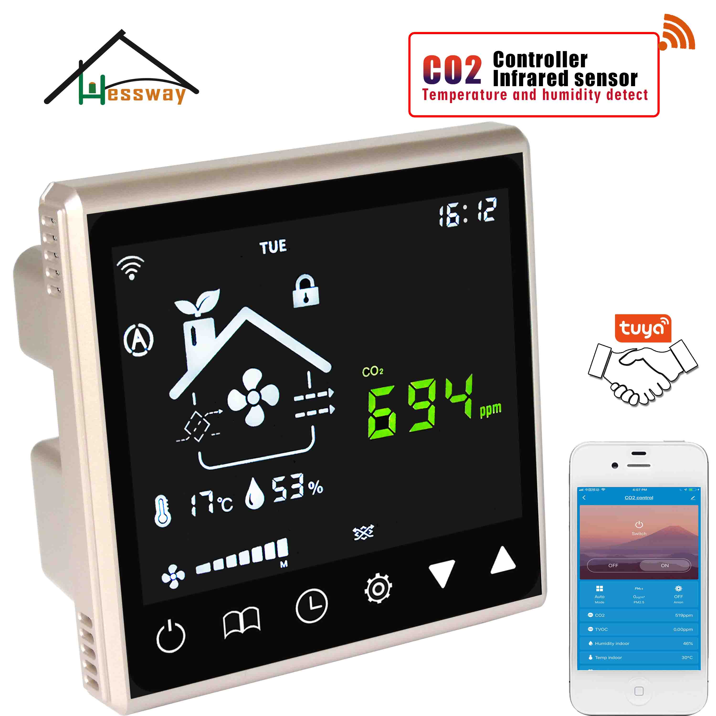 HESSWAY 3 In1 Temperature Humidity Detector Carbon Dioxide Control Wifi CO2 For Control Ventilation System