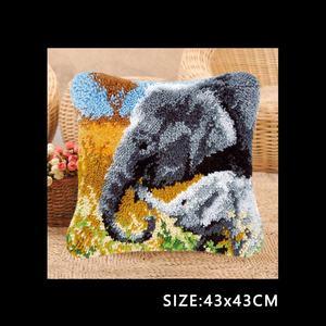 Image 4 - חי פרא כרית וו תפס ערכת כרית מחצלת DIY קרפט פרח 42CM 42CM צלב סטיץ רקמה סורגת כרית רקמה
