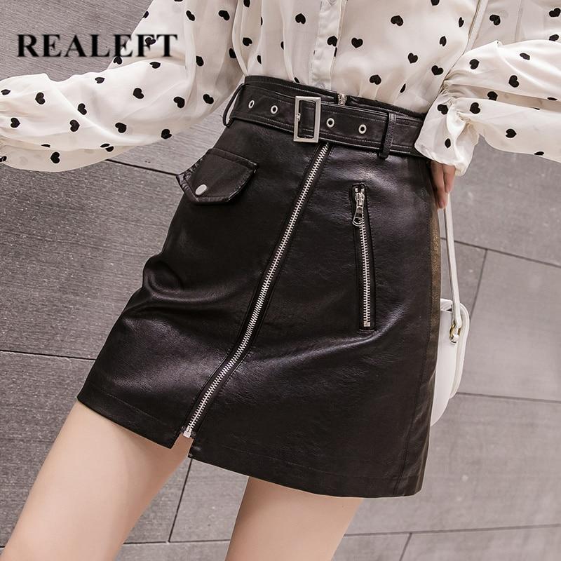 REALEFT Autumn Winter Zipper OL Elegant Mini Short A-Line Skirts High Waist Black PU Leather Sheath Wrap Skirts With Belt 2019