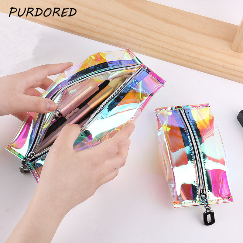 PURDORED 1 Pc Foldable Laser Cosmetic Bag Waterproof Zipper Women Makeup Bag Waterproof Clear Travel Makeup Organizer Neceser