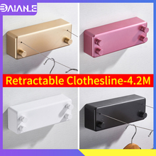 Retractable Clothesline Outdoor Indoor Rope Telescopic Stainless String Invisible Laundry Hangers Wall Drying Rack