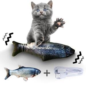 Image 2 - 30 سنتيمتر الحيوانات الأليفة الإلكترونية القط لعبة الكهربائية USB شحن محاكاة الأسماك لعب للكلاب القط مضغ اللعب العض لوازم