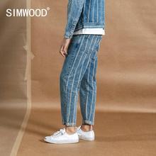 SIMWOOD 2020 printemps nouveau cheville longueur jean hommes mode Hip Hop retour rayé mode Streetwear Denim grande taille pantalon 190384