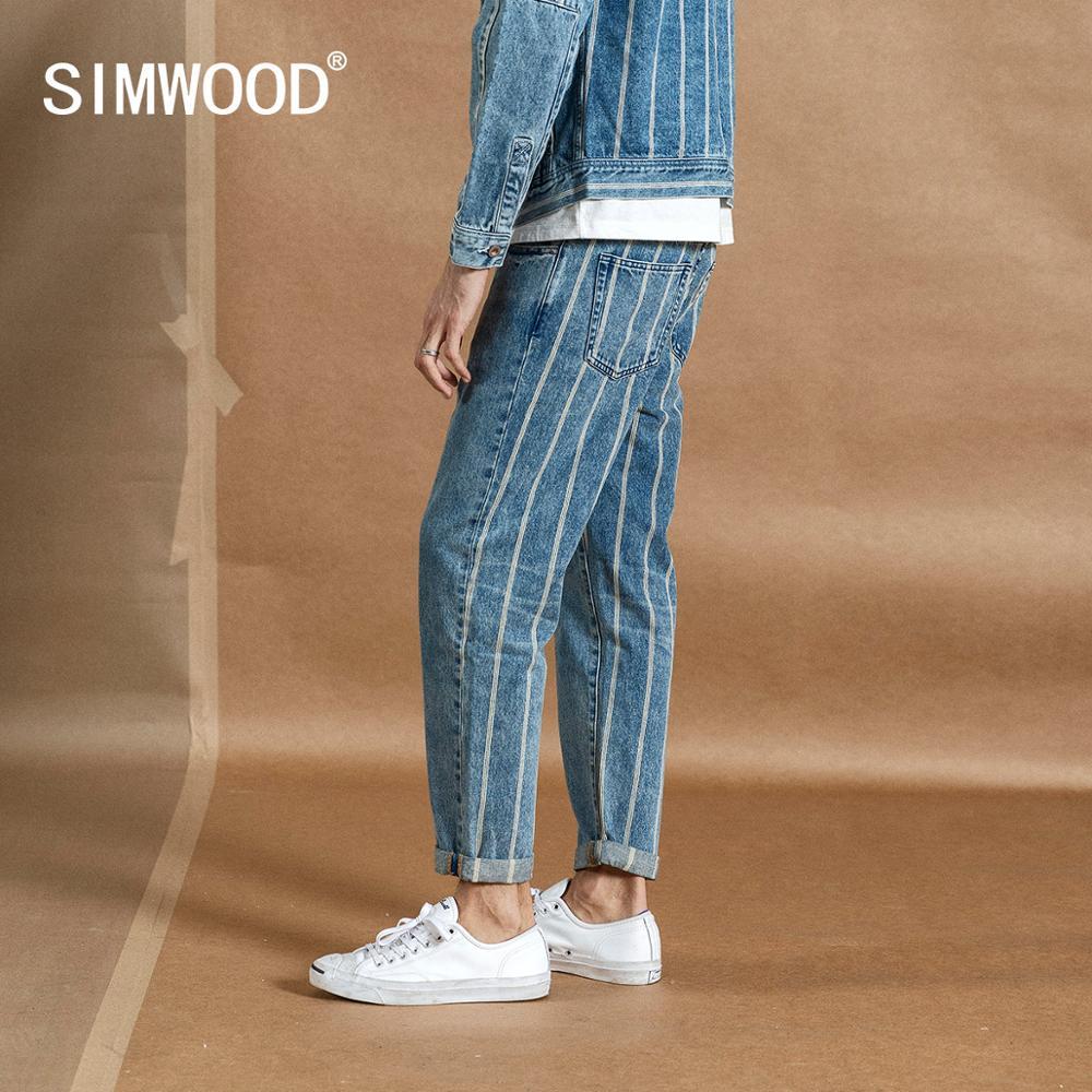 SIMWOOD 2020 spring New Ankle-length Jeans Men Fashion Hip Hop Back Striped Fashion Streetwear Denim Plus Size Trousers 190384