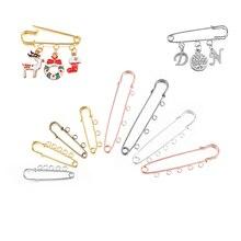 10 adet/grup emniyet pimleri broş boş taban broş Pins 50/80/90mm pim 3/5 yüzük takı Pin takı yapımı malzemeleri için aksesuar