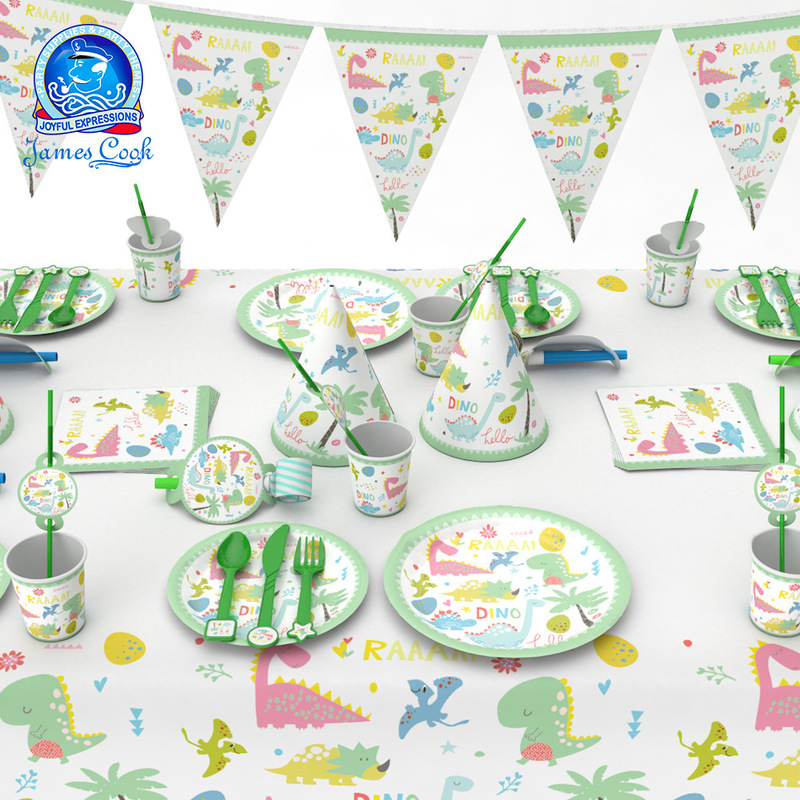 birthday party decorations kids green cartoon dinosaur birthday одноразовая посуда paille papier <font><b>cumplea</b></font>ñ<font><b>os</b></font> pokemon מפרץ ההרפתקא image