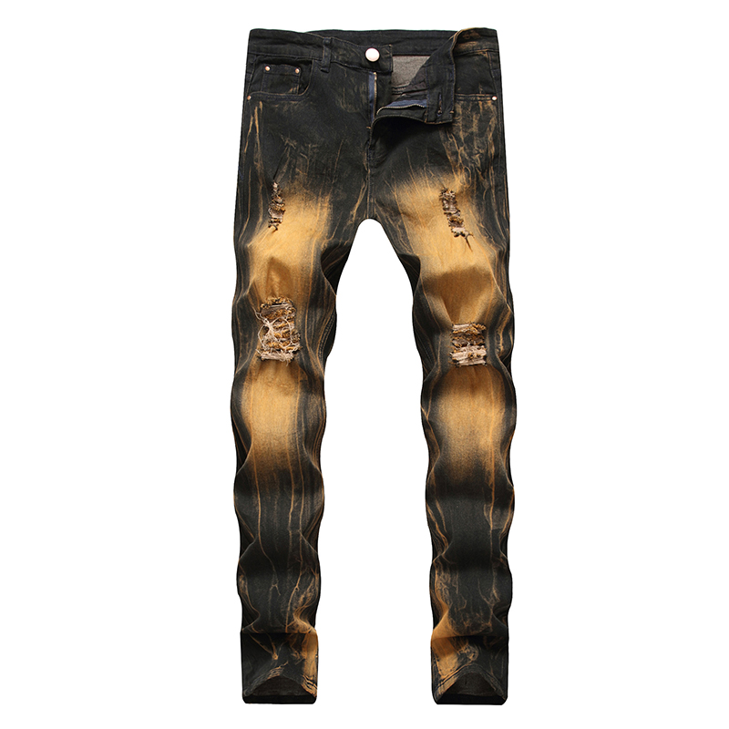 Gersri Men's Biker Jeans Destroyed Pants Pleated Motocycle Denim Gold Trousers Brand Designer Straight High Quality Male Pants