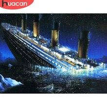 HUACAN diamant Kit de peinture paysage mer diamant broderie point de croix navire photos de strass mosaïque mur Art