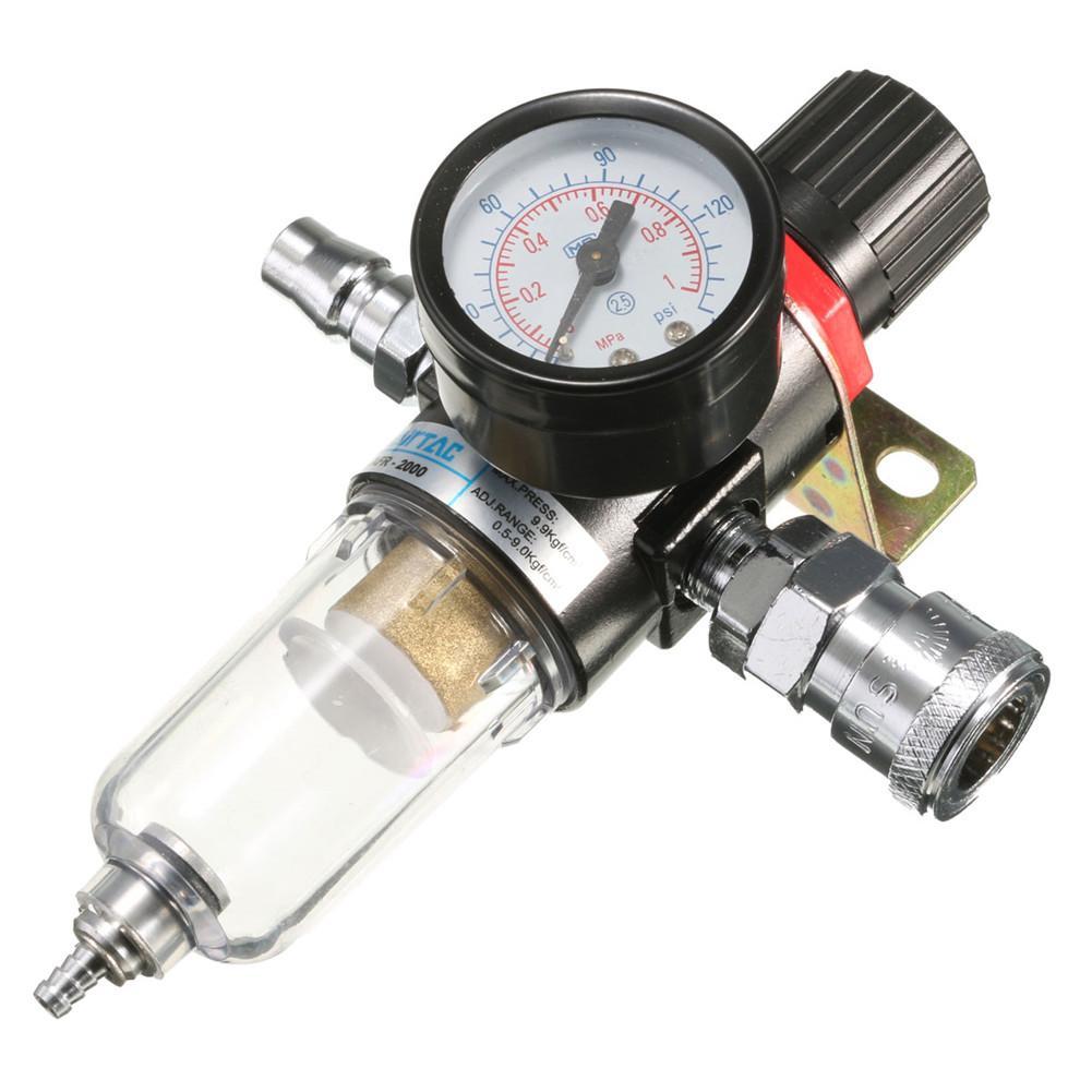 1/4inch Air Compressor Filter Water Separator Trap Tools Kit Oil Water Separator Regulator Lubricator With Regulator Gauge
