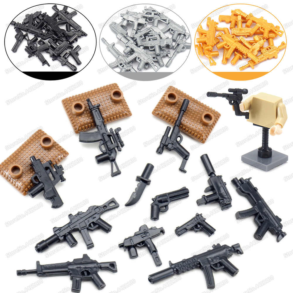 مجموعة بندقية رشاش MP5 للجيش ، مجموعة أسلحة عسكرية WW2 ، مجموعة أدوات البناء ، نموذج لعبة هدية للأطفال