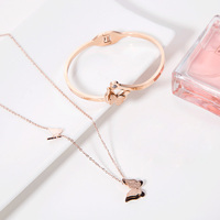 L1033 Fashion 18K Gold Plated Butterfly Necklace/Bracelet Jewelry Set For Women Elegant Engagement Gift Friend Gift