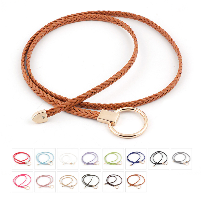 2020 New Gold O Ring Buckle Weave Belt Ladies White Black Red Thin Braided Leather Belts For Women Dresses String Waistband