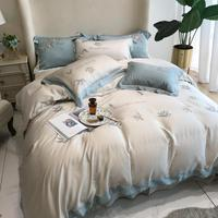 Beige Tencel Bedding Set Embroidery duvet cover set Long staple cotton Pillowcases Queen King Size Bed Bed Linen 4pcs 2020 New