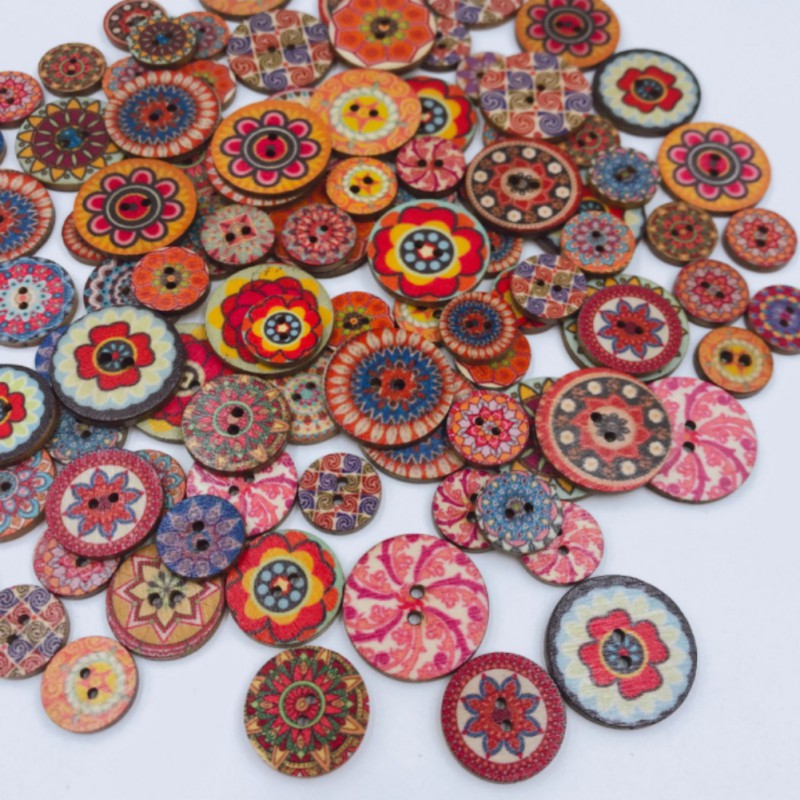 2 Holes 15mm Vintage Garden Floral Designs Assorted Round Wooden Buttons Mixed