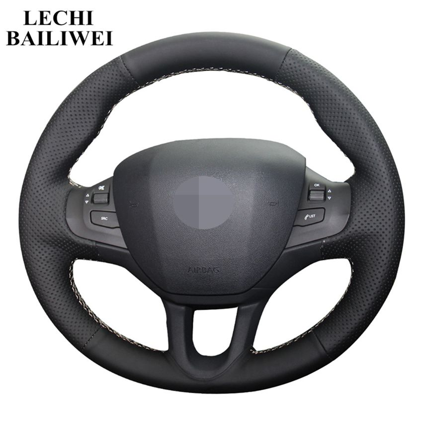 Hand-stitched Black PU Artificial Leather Car Steering Wheel Cover For Peugeot 208 2011-2019 Peugeot 2008 2013-2018 2019