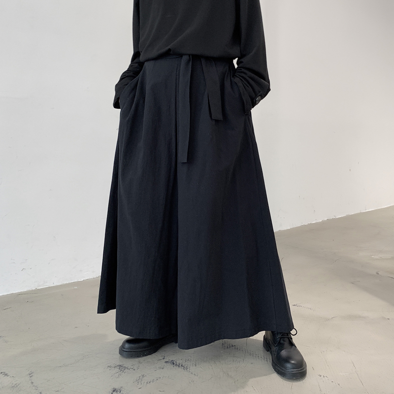 Men Japan Style Loose Casual Black Kimono Wide Leg Pant Male Women Streetwear Hip Hop Punk Gothic Ribbon Harem Skirt Trouser