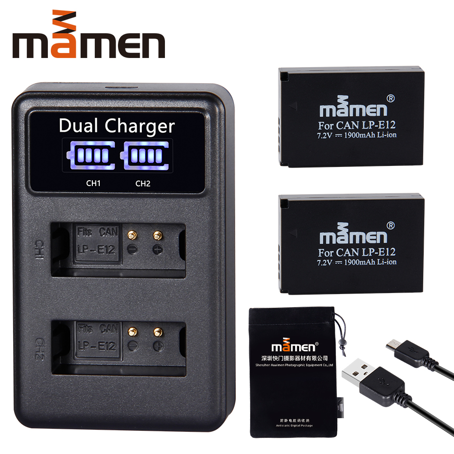 1900mAh Rechargeable LP-E12 LPE12 LP E12 Digital Camera <font><b>Battery</b></font> + LCD USB Charger for <font><b>Canon</b></font> <font><b>100D</b></font> Kiss X7 Rebel SL1 M10 M50 DSLR image