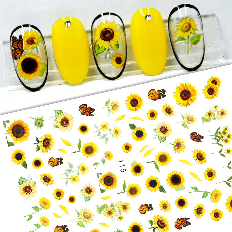 3D Nail Sticker Decals Self-adhesive Stickers for Nails Butterfly Yellow Sun Flower Stickers for Manicure Nail Art Decoration