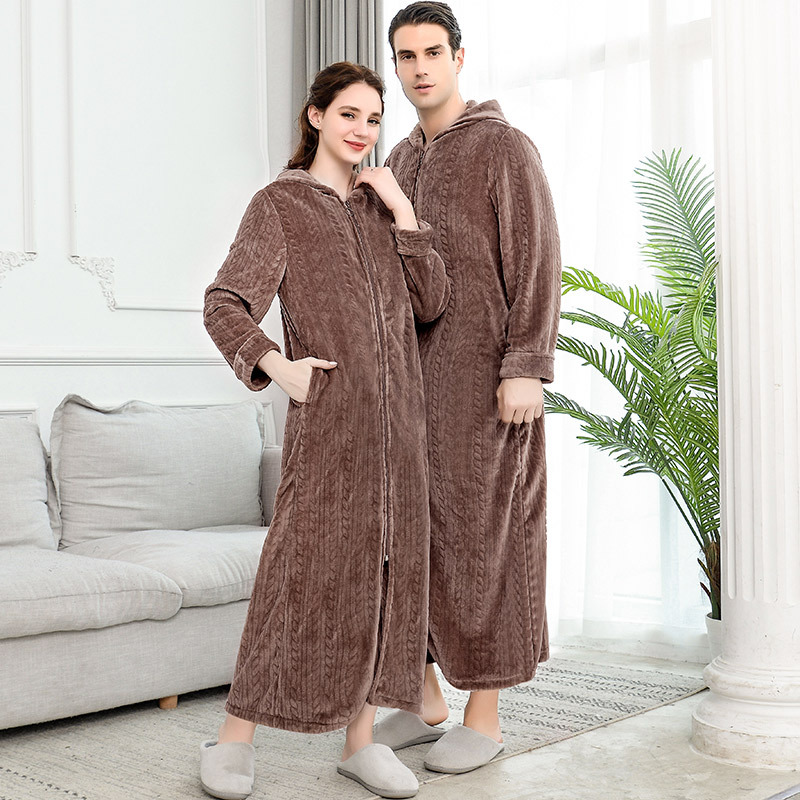 Men Women Extra Long Winter Warm Nightgown Plus Size Pregnant Zipper Sleepshirts Luxury Soft Grid Flannel Thermal Dressing Gown