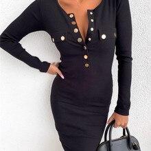 Elegant Lady Autumn Dress Patchwork Design Button Decor O-Neck Long Sleeve Solid