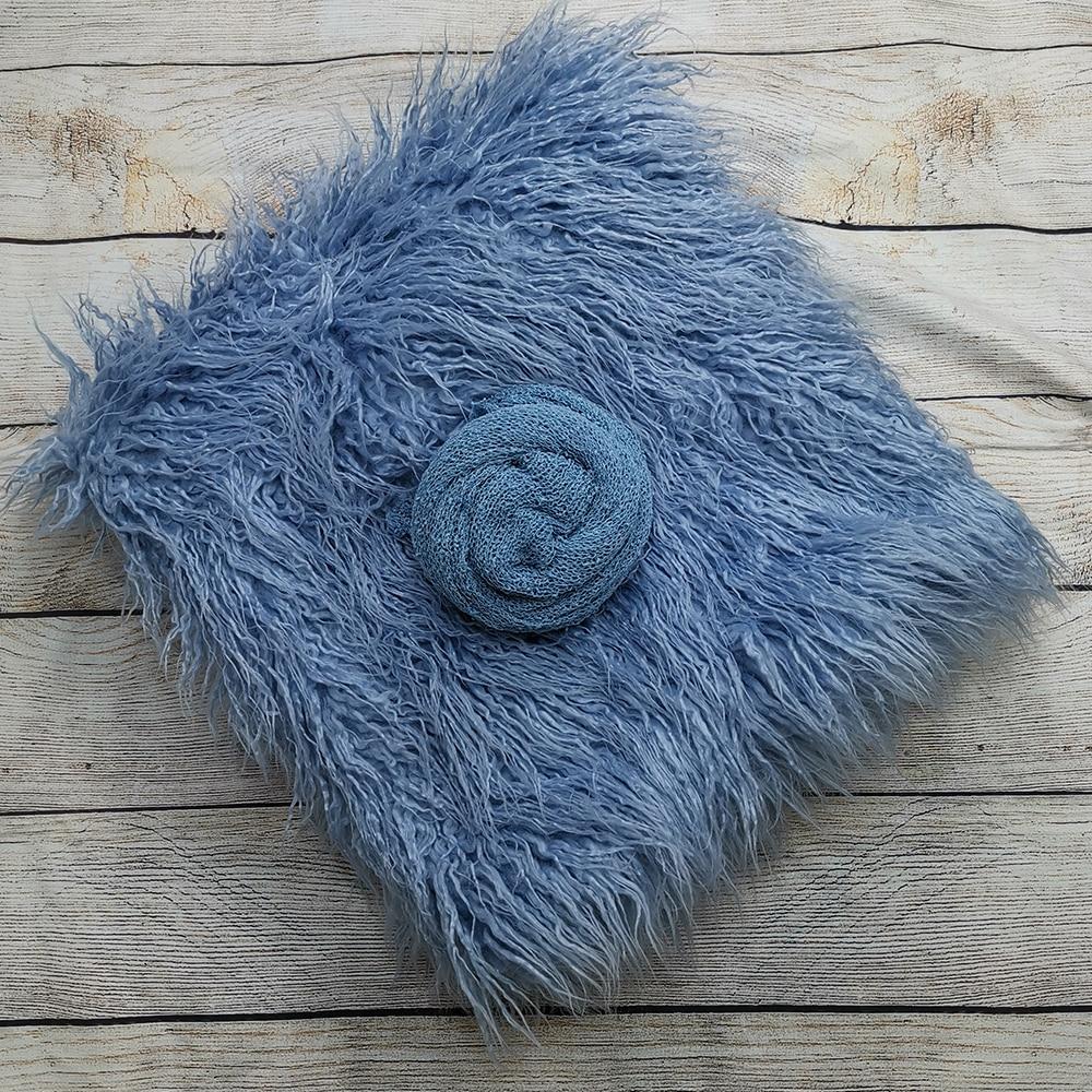 Backdrops 150 x 100 cm Mongolia Faux Fur Long Rug Cushion+140*30cm Stretch Knit Wrap for Newborn Photography Props