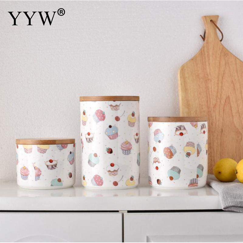 Sweet Kitchen Jars Storage Bottles Household Food Storage Container Grains Nuts Cans Cake Pattern Ceramic Bulk Product Jar Bank