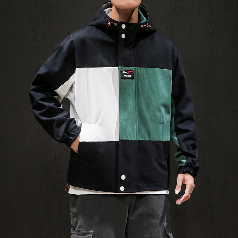 2019 Autumn And Winter New Style Men Fashion Multi-color Mosaic Hooded Tooling Jacket Youth Casual Loose-Fit Handsome Coat