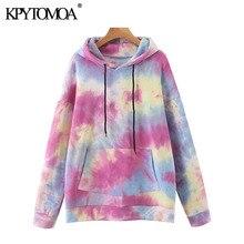 KPYTOMOA Women 2020 Fashion Tie-dye Print Loose Hoodies